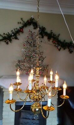 Beautiful Brass Vintage 10 Arm Fancy Chandelier Hanging Lamp Light Candlestick