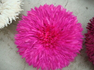 "Authentic 21"" / Fuchsia / African Feather Headdress / Juju Hat / 1st. Quality"