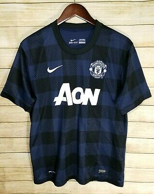 df885620a11 Manchester United AON Soccer Shirt Jersey Nike Dri-Fit Blue Black Mens Large
