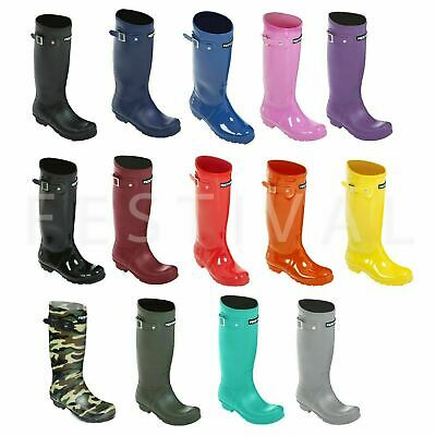 Womens Ladies Girls Tall Festival Wellies Wellington Boots Size 3 4 5 6 7 8 9