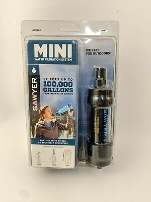 Sawyer Black Mini Water Filter System For Hiking Camping w/ 16 Oz Pouch SP105