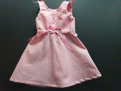 Doll Dress for 18 Inch American Girl Handmade Pink & White Hounds-tooth NEW