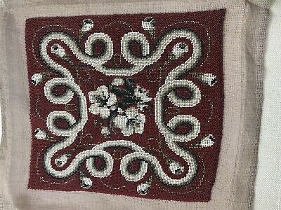 Antique Vintage VICTORIAN style French Glass Bead Beaded PANEL Hand embroidered