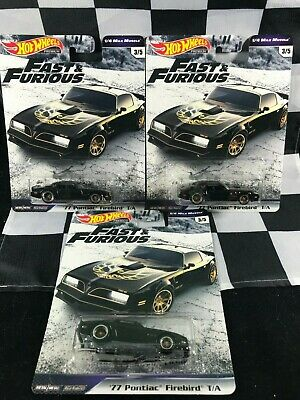 LOT OF 3 Hot Wheels FAST & FURIOUS 1/4 Mile Muscle '77 PONTIAC FIREBIRD T/A