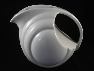 Hall China White Refrigerator Water Pitcher Ball Art Deco Ice Lip Mid Century