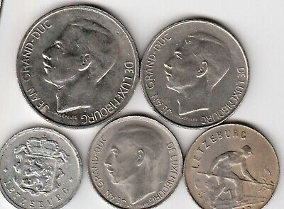 5 different world coins from LUXEMBURG