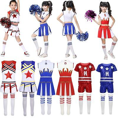 Kids Cheerleader Costumes School Girls Outfits Fancy Dress Cheer Leader Uniform