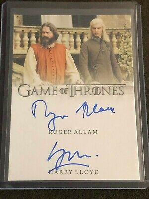 Game of Thrones Inflexions Dual Autograph Auto Card Roger Allam & Harry Lloyd