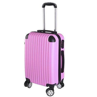 """20"""" Carry On Luggage Travel Bag Trolley Suitcase ABS 360° Rolling Wheel Pink"""