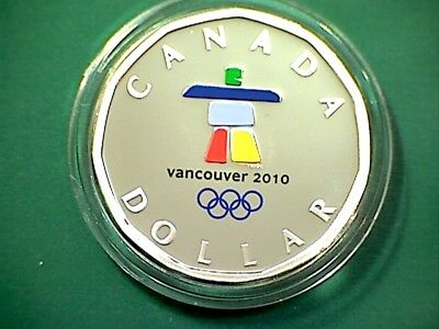 2010 Canada Lucky Loonie $1 in pure silver proof finish - with olympic logo