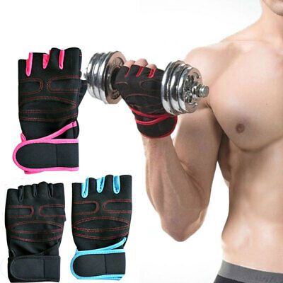 Unisex Fingerless Gloves Weight lifting Sports Training Gym Workout Fit BRV