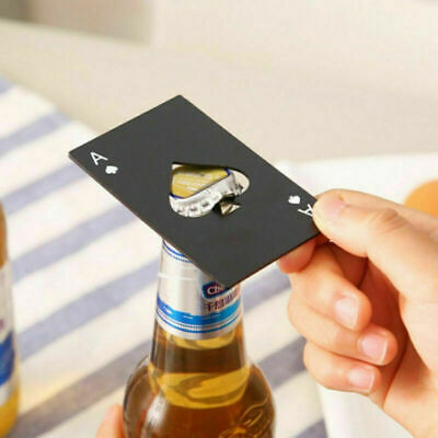 2pc Ace Of Spades Credit Card Beer Bottle Cap Opener  Poker Deck Stainless Steel