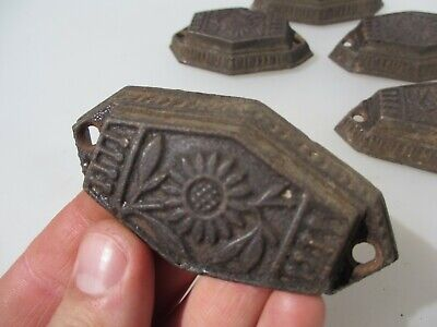 Victorian Iron Drawer Cup Handles Cupboard Pulls Shell Old Antique Vintage x5