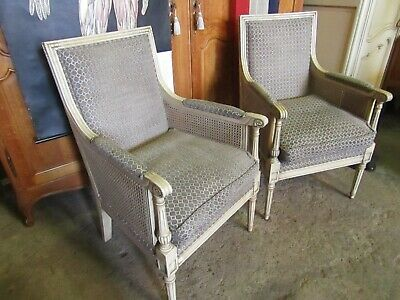 Pair chic French painted Bergere armchairs in beautiful condition louis xv