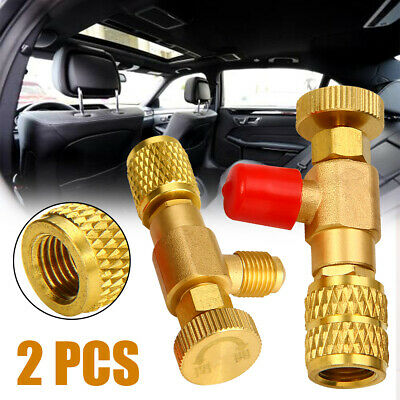 "2Pcs Refrigeration Charging Adapter R22/R410A For 1/4"" Safety Valve Service DIY"