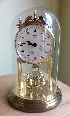 Vintage Kundo Electronic Anniversary Style Clock Fully Working - Glass Dome