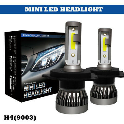 MINI H4 COB 72W 9000LM LED Headlight Kit Light Bulb Fog Light Xenon White 6000K