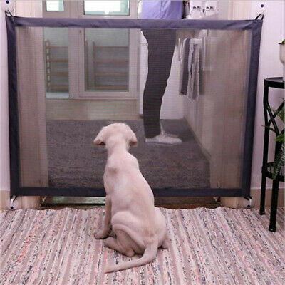 Folding Mesh Pet Dog Cat Gate Safe Guard Install Anywhere Safety Enclosure Fence