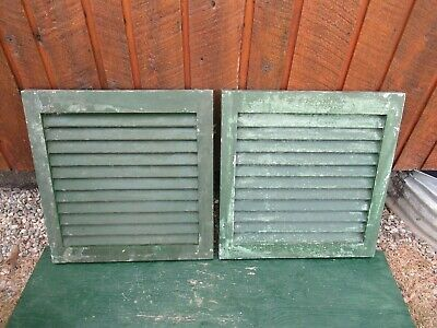 """VINTAGE Old 2 SHUTTERS Wooden 20"""" long x 21"""" Wide Architectural Salvage #2"""