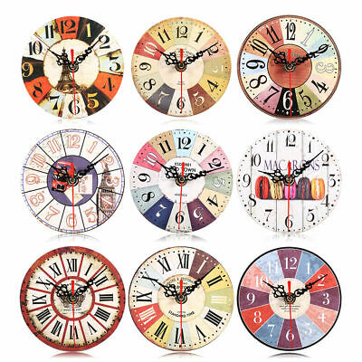 12CM Silent Wooden Round Wall Clocks Decorative Vintage Style For Home Office