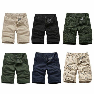 Summer Mens Casual Cargo Chino Shorts Cotton Half Trousers Combat Pants 36 34 32