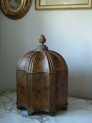 Antique French Style Ornate Large Fluted Dome Shape Box With Pineapple Finial
