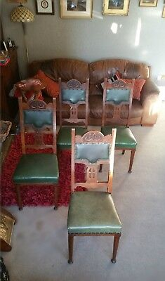 Vintage Antique Old Arts & Crafts Style Chair tapering circular front legs