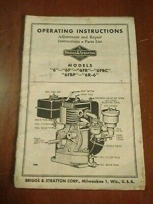 BRIGGS STRATTON Model 6 Engine Owner Parts Service