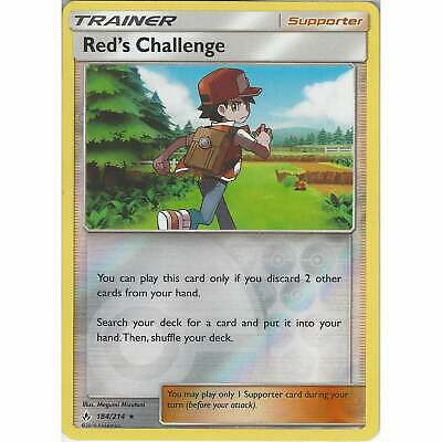 Red's Challenge - 184/214 - Rare Reverse Holo Card - Pokemon TCG Unbroken Bonds