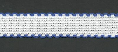 Zweigart 1 Metre White Aida Band 2.5cm/1 Inch Wide White With a Blue Scalloped E