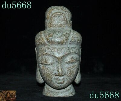 """7""""Rare antique China temple natural Old jade carved Kwan-Yin Buddha head statue"""