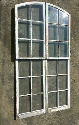 Antique Set of 4 Semi Arch Factory Windows Wall Shabby Vintage Chic 234-19L