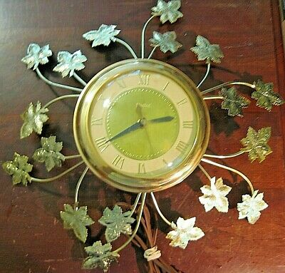 VINTAGE Mid Century United Electric Wall Clock Model 77 GOLD Metal Leaves WORKS