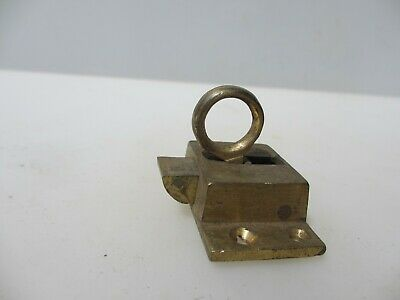 Vintage Brass Door Lock Bolt Transom Window Spring Lock Old WC Antique