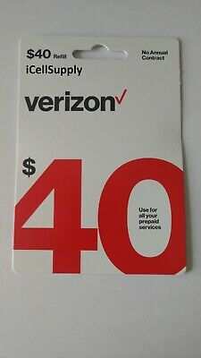 $40 Verizon Wireless Prepaid Refill Card - Fast 30 Minute Delivery 9AM-5PM EST