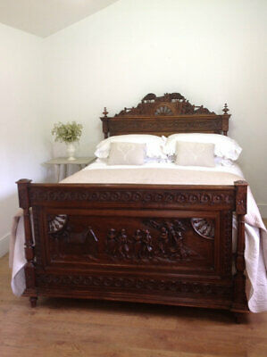 Antique french Breton king size bed