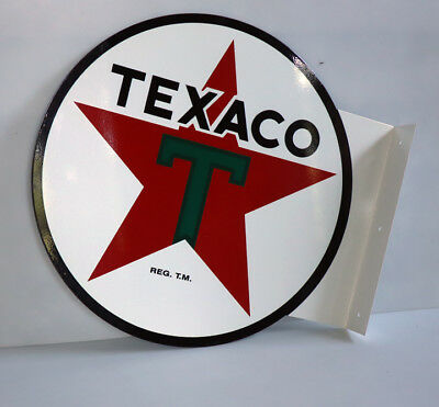 TEXACO WHITE Green T MOTOR OIL Flange Sign  gas station  Modern Retro