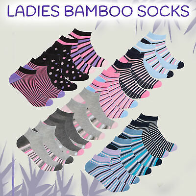 3 Pairs Ladies Bamboo Socks Trainer Liner Soft Anti Bacterial Size 4 5 6 7 UK