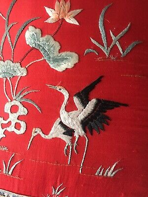 Vintage 1960s Red Embroidered Chinese Cushion Cover