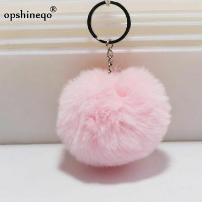 simple key chain Fur ball Pompon Keychain Pompom Artificial Rabbit  Animal New