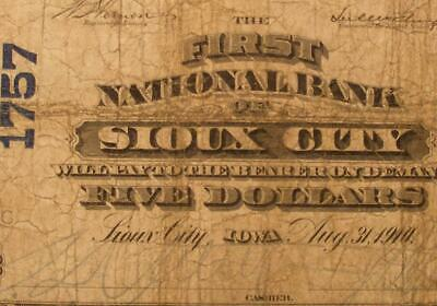 Sioux City, Iowa IA 1902 $5.00 Plain Back Ch. 1757 The First National Bank