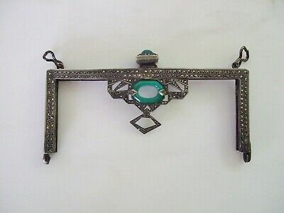 Antique Art Deco Silver Marcasite Crysophrase Purse Frame Made in Germany