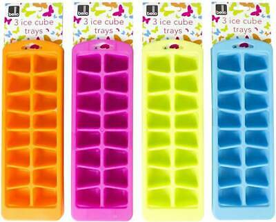3x Colour Soft Splash Ice Cube Tray Plastic With Various Colour Summer Hot Fun