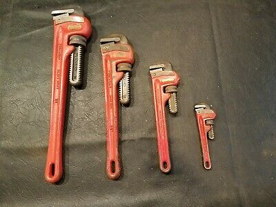 """RIDGID  4-piece Pipe Wrench lot - 18"""", 14"""", 10"""", 6""""  -  Made in USA"""