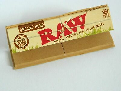 RAW Organic Hemp Connoisseur King size Slim Rolling Papers with Tips / Roaches