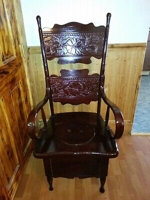 Vintage - Antique Wooden High Back Adult Size Potty Chair Chamber Pot