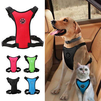 Air Mesh Puppy Pet Cat Dog Car Harness Seatbelt Clip Lead Safety for Travel XS-L