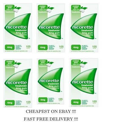 Nicorette Gum Freshmint 4mg 105 pieces PACK OF 6   2021 Expiry