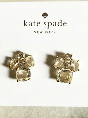 68e48fe6c $58 NEW KATE SPADE New York Clear Crystal Cluster Gold Tone Stud Earrings