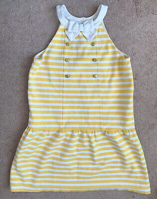 b7aa9fb11fc50 Girl's JANIE and JACK White Yellow Stripe Sleeveless Dress Gold Buttons Bow  12